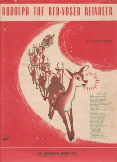 Printable Rudolph Christmas Sheet Music - - FREE printable Rudolph The Red Nosed Reindeer vintage sheet music. A cool retro look for Christmas DIY and craft projects or simply printed out and framed. Rudolph Christmas, Christmas Past, Christmas Holidays, Christmas Stuff, Christmas Books, Christmas Ideas, Winter Holiday, Christmas Decorations, Christmas Heaven