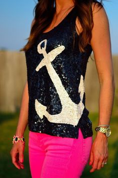 neon pink jeans with sequined nautical anchor tank