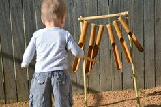 Bamboo chimes for backyard sensory garden