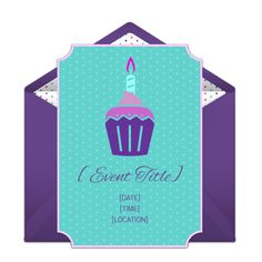 Free cupcake party invitation. We love this teal + purple cupcake online invitation that you can personalize and send via email. Great for birthdays, bake sales, and dinner parties.