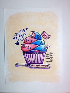 Harley Quinn cupcake illustration https://www.etsy.com/listing/273117690/harley-quinn-cupcake-matte-print
