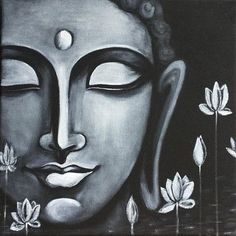 Buddha Peace, Art Prints of Original Painting by Pratibha Madan Budha Painting, Peace Painting, Ganesha Painting, Buddha Wall Painting, Black Canvas Paintings, Indian Art Paintings, Canvas Painting Designs, Black Canvas Art, Modern Art Paintings