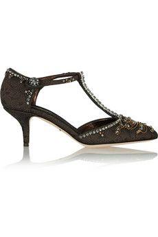 Dolce & Gabbana Embellished brocade T-bar pumps | NET-A-PORTER