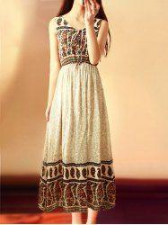 Bohemian V-Neck Sleeveless Printed Chiffon Dress For Women