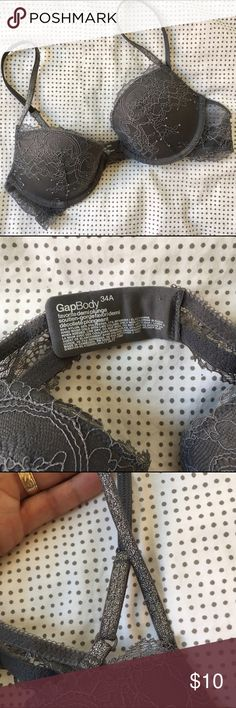 Whimsical Gap Body Demi Plunge Bra 34A Gray, but not boring! ✨ This bra has lots of fun details, such as intricate lace with no flaws and glittery straps. ✨ Has only been worn a few times. No trades. Gap Body Intimates & Sleepwear Bras