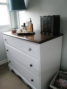 This Fresh Fossil: Master Bedroom: How to Refinish Furniture in a Two-Tone Style Diy Outdoor Furniture, Funky Furniture, Repurposed Furniture, Furniture Projects, Furniture Makeover, Home Projects, Painted Furniture, Bedroom Furniture, Home Furniture