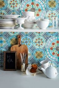 "Optical Illusion - ""Tile"" Wallpaper Kitchen Backsplash - also for the pantry and cabinet walls. Love the new apartment already..."