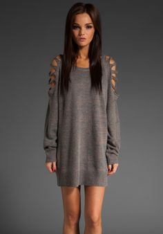 out of everything I want for fall, I want this the most! so cute!  oversized open shoulder grey sweater