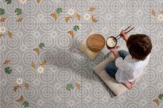 a japanese fish pond becomes frozen in a geometric layout consisting of four tile designs. Encaustic Tile, Concrete Tiles, Bathroom Renos, Bathrooms, Tile Design, Design Process, Home Renovation, Tile Floor, Layout