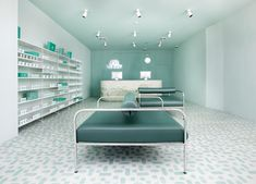 Sergio Mannino Studio reimagines the typical pharmacy for a cozy, aqua and white design that graces the new Medly Pharmacy in Brooklyn, New York.