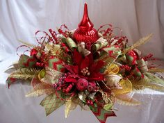 Christmas Centerpiece,Christmas Mesh Centerpiece,Christmas Mesh Tablepiece,Christmas Table Decor by CherylsCrafts1 on Etsy