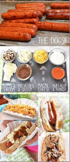 host a hotdog tasting party with interesting topping choices! I would do this with sausage or brats, steak patties, venison or even pork patties! Hamburgers, Party Ideas For Teen Girls, Hot Dog Recipes, Meat Recipes, Hot Dog Bar, Tapas, Good Food, Yummy Food, Hot Dogs