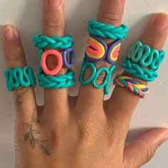 Fimo Ring, Polymer Clay Ring, Fimo Clay, Polymer Clay Crafts, Diy Clay Rings, Cute Clay, Clay Projects, Clay Creations, Biscuit