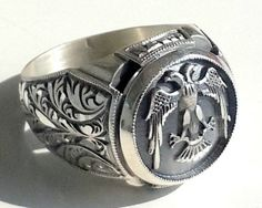 925 Sterling Silver Men's Ring With Unique by lunasilvershop