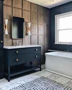 Jean Stoffer Design bathroom wall grid molding panelling dark navy black vanity (go to her IG to see the light fixture over the tub) Modern Bathroom Design, Bathroom Interior Design, Decor Interior Design, Bathroom Designs, Bathroom Ideas, Bathroom Colors, Bathroom Renovations, Remodel Bathroom, Bath Design