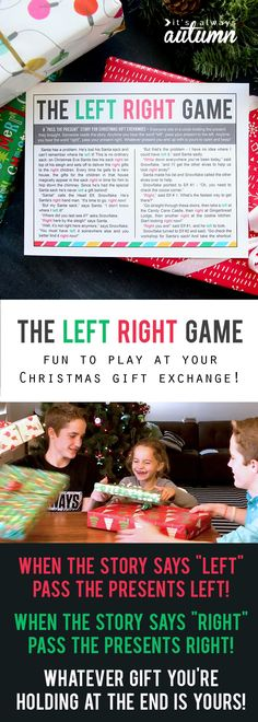 the Christmas left right game (w/printable story Ever played the left right game at your Christmas gift exchange? It's so much fun! No stealing presents from each other, so no one is disappointed! Christmas Gift Exchange Games, Fun Christmas Party Games, Xmas Games, Holiday Games, Xmas Party, Holiday Fun, Santa Games, Reindeer Games, Office Gift Exchange Ideas