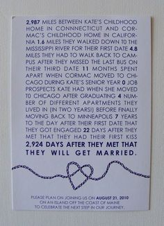 I know this is a wedding invitation, but I love the idea of calculating all this out. I want to make this for Kenny and frame it one year.