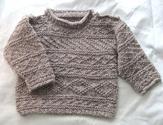 "I designed this toddler's fisherman's sweater to use traditional stitch patterns from Orkney, Scotland (based on Elizabeth Lovick's book Patterns for North Ronaldsay Yarn) and yarn from a local primitive breed sheep on the island of Papa Westray (""Holmie 'oo'""), which is only available on the island. I have suggested similar weight yarns for you to use, such as 4 (50g) balls of Rowan Scottish Tweed DK, or 5 (50g) balls of Debbie Bliss Luxury Tweed Aran. My gauge fits the pattern chart with…"
