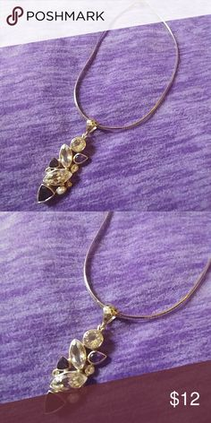 💜Amethyst and crystal pendant necklace Purple amethyst type stone with crystal chunky pendant silver with silver thick choker chain. Statement fashion jewelry. Jewelry Necklaces