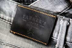 Hot printed leather label with color stitching