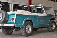Vintage 1967 Jeepster Commando in the shop at Axleboy Off-Road. Jeep Cj, Jeep Truck, Jeep Wrangler, Custom Jeep, Custom Trucks, Vintage Jeep, Vintage Cars, Old Trucks, Pickup Trucks