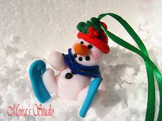 Snowman on Skates Christmas Figurine  Christmas by MoirasStudio
