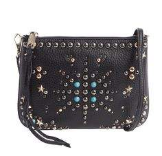 NWT Rebecca Minkoff Black Pebbled Leather Ascher Jeweled Crossbody Bag #RebeccaMinkoff #MessengerCrossBody