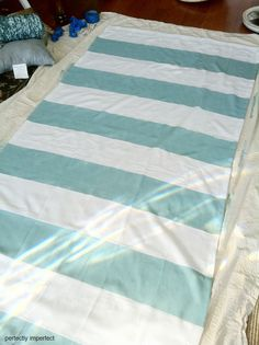Curtain stripes painted with chalk paint  I like her blog great ideas