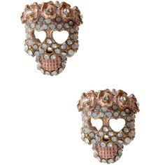 Betsey Johnson Skull Stud Earrings ($15) ❤ liked on Polyvore featuring jewelry, earrings, opal, betsey johnson earrings, post earrings, betsey johnson, betsey johnson jewelry and skull stud earrings