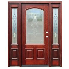$1999 Pacific Entries Strathmore Traditional 3/4 Lite Arch Stained Mahogany Wood Entry Door with 12 in. Sidelites-M63STML412 at The Home Depot