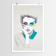 """Part high fashion, part David Bowie this art posterby feature artist Jen Rome is all parts fierce. Our line of curated art posters are printed on fine art paper and are of the highest quality. Unlike our decals, these are not adhesive backed but are ready to be hung, framed or highlighted to your heart's desire. Sizes: 15""""x23"""" & 23""""x34.5"""""""