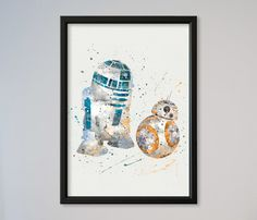 La force de R2D2 BB-8 affiche Star Wars aquarelle par LaDecorColor
