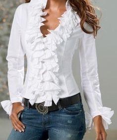 White ruffles & denim Denim Top, Cute Tops, Ruffle Blouse, Womens Fashion, How To Wear, Fashion Design, Shirts, Outfits, Clothes