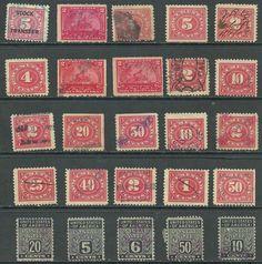 """US 1898 """" Revenue - Battleship 2c, Stock Transfer Documentary Revenue stamps 25"""