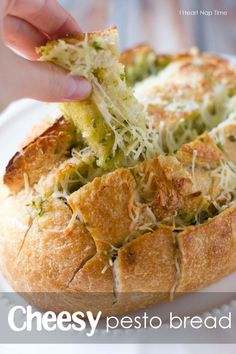 Mouthwatering cheesy pesto bread! The BEST! iheartnaptime.net #food #appetizer