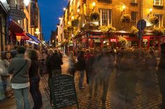 People in Temple Bar district at night, Dublin, Ireland.