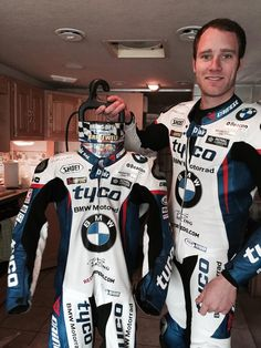 British Superbike rider Tommy Bridewell with His Hang-Dry.