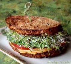 Roasted Red Bell Pepper Hummus Sandwich (vegan)