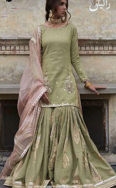 #shararadesigns Pakistani Fashion Casual, Pakistani Dresses Casual, Pakistani Wedding Outfits, Pakistani Bridal Dresses, Pakistani Dress Design, Bridal Outfits, Indian Fashion, Pakistani Gharara, Pakistani Culture