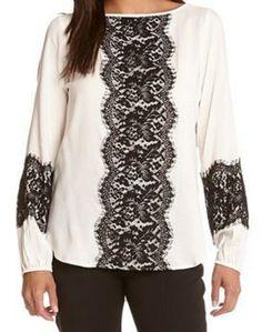 So Pretty! Black and White Karen Kane London Lace Tunic #Karen_Kane #KarenKane #Black_and_White #London #Lace #Tunic #Spring #Summer #Fashion
