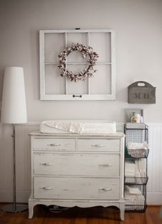 Shabby Nursery Decor Ideas For Your Baby #home Dresser As Nightstand, Table, Furniture, Home Decor, Homemade Home Decor, Tables, Home Furniture, Interior Design, Decoration Home