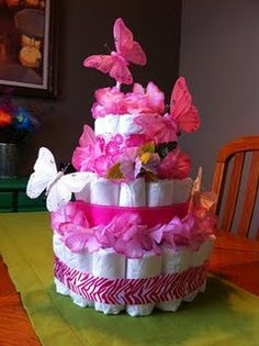 DIY Diaper Cake. I think I might try and make something like this for my sisters baby shower.