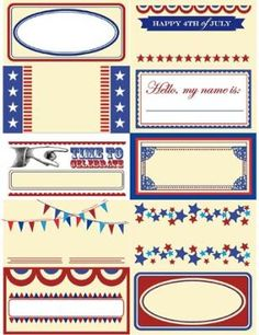 Print Out Drink Tags  Here's a solution for you, just in time for the 4th of July: Print these fun vintage-inspired stickers on full-sheet sticker paper, trim and place near the bar. Put out some Sharpies and have everyone fill out a patriotic tag for their drinks. No more mix-ups!