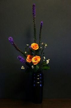 Ikebana Roses | ohara ikebana upright heika - liatris, roses and wax flowers