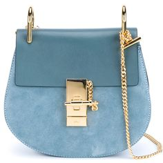 Chloé Small Leather Drew Bag found on Polyvore featuring bags, handbags, shoulder bags, purses, leather handbags, blue leather shoulder bag, leather shoulder handbags, blue leather purse and blue leather handbags
