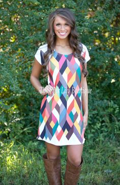 The Pink Lily Boutique - Geometric Love Dress , $37.00 (http://thepinklilyboutique.com/geometric-love-dress/)