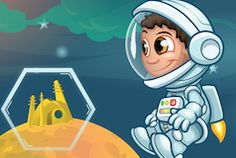 Help Gus reach his moonbase by using programming to avoid obstacles, unlock doors and trace a path.