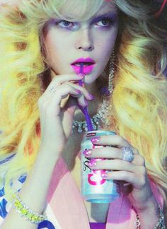 All my true loves! Diet coke, big blonde hair, pink lips, bling and sparkly pink nails!!!:)