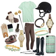 Sea Green, Brown, Gold, created by bacardiandeq on Polyvore