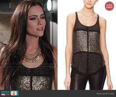 Princess Eleanor's black studded tank top on The Royals. Outfit Details: http://wornontv.net/48167/ #TheRoyals